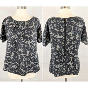 B.R Pleat-Neck Lace Print Short Sleeve Silk Blouse